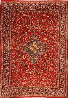 "Qum Red Hand Knotted 6'10"" X 9'11""  Area Rug 100-21897"