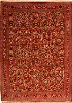 "Hereke Red Hand Knotted 6'3"" X 8'9""  Area Rug 100-21900"