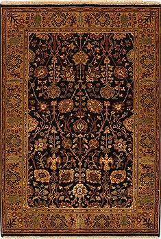 Indian Agra Black Rectangle 4x6 ft Wool Carpet 21903