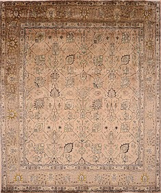 "Tabriz Brown Hand Knotted 10'0"" X 11'11""  Area Rug 100-21920"