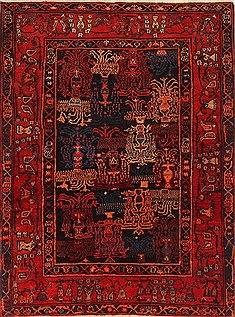 "Sanandaj Red Hand Knotted 4'1"" X 5'6""  Area Rug 100-21945"