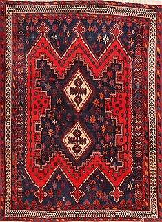 Persian Sirjan Blue Rectangle 4x6 ft Wool Carpet 21949