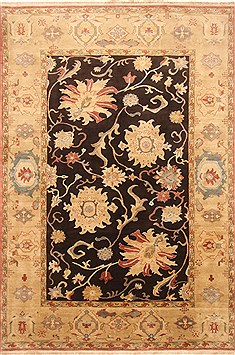 Egyptian Chobi Black Rectangle 7x10 ft Wool Carpet 21981