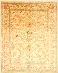 Pakistani Pishavar Beige Rectangle 8x10 ft Wool Carpet 21986