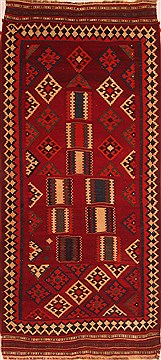 "Qashqai Red Runner Flat Woven 4'3"" X 9'7""  Area Rug 100-22036"