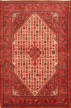 "Bidjar Red Hand Knotted 3'2"" X 4'10""  Area Rug 100-22084"