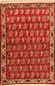 "Abadeh Red Hand Knotted 3'3"" X 4'9""  Area Rug 100-22085"