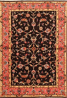 Persian Tabriz Black Rectangle 3x5 ft Wool Carpet 22106