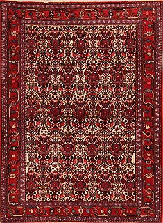 "Abadeh White Hand Knotted 3'7"" X 4'10""  Area Rug 100-22126"