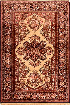 "Kashan Brown Hand Knotted 3'5"" X 4'11""  Area Rug 100-22147"