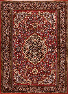 "Qum Red Hand Knotted 3'6"" X 4'10""  Area Rug 100-22154"
