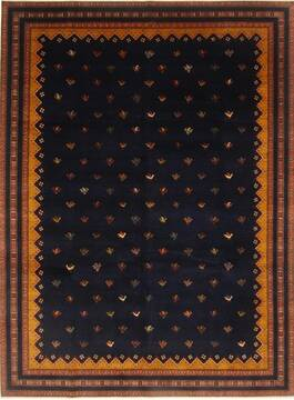 Indian Faridan Blue Rectangle 9x12 ft Wool Carpet 22170