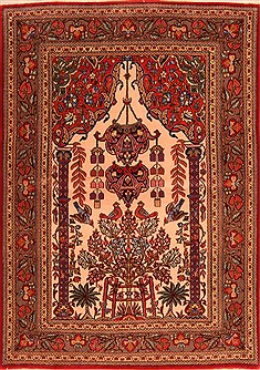 "Qum Red Hand Knotted 3'7"" X 5'0""  Area Rug 100-22173"
