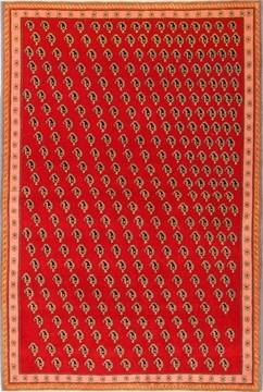 "Qashqai Red Hand Knotted 3'5"" X 5'1""  Area Rug 100-22185"