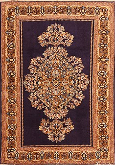 "Qom Blue Hand Knotted 3'6"" X 5'0""  Area Rug 100-22193"