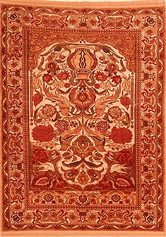 "Tabriz Red Hand Knotted 3'9"" X 5'3""  Area Rug 100-22195"