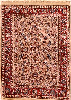 "Sarouk Red Hand Knotted 3'7"" X 4'7""  Area Rug 100-22216"