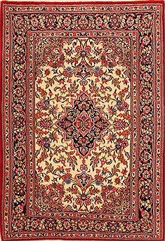 "Qom Red Hand Knotted 3'7"" X 5'2""  Area Rug 100-22264"