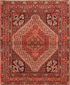 "Sanandaj Red Hand Knotted 4'1"" X 5'1""  Area Rug 100-22273"