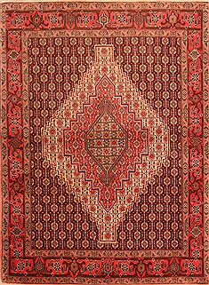 "Kurdi Red Hand Knotted 4'1"" X 5'7""  Area Rug 100-22281"