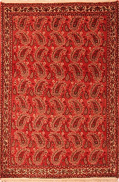 Persian Abadeh Red Rectangle 3x5 ft Wool Carpet 22288