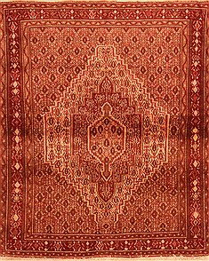 "Sanandaj Red Hand Knotted 3'9"" X 4'9""  Area Rug 100-22325"