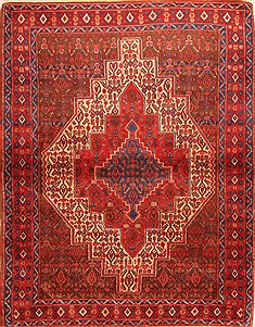 "Sanandaj Red Hand Knotted 4'0"" X 5'1""  Area Rug 100-22328"