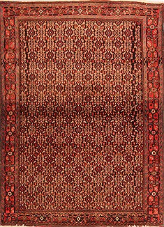 "Sanandaj Red Hand Knotted 3'8"" X 4'11""  Area Rug 100-22354"