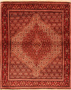 "Sanandaj Red Hand Knotted 4'1"" X 5'0""  Area Rug 100-22377"