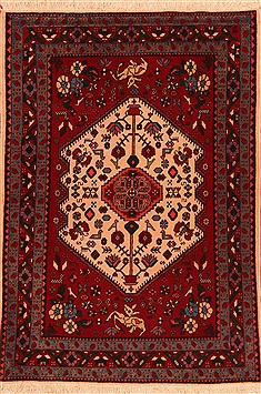 Persian Abadeh Red Rectangle 3x5 ft Wool Carpet 22386