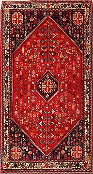 Persian Abadeh Red Rectangle 3x5 ft Wool Carpet 22388