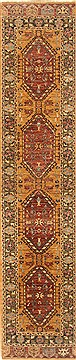 Indian Chobi Yellow Runner 10 to 12 ft Wool Carpet 22390