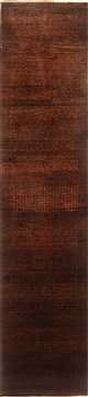 "Gabbeh Brown Runner Hand Knotted 2'7"" X 11'8""  Area Rug 100-22402"