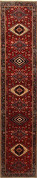 "Karajeh Red Runner Hand Knotted 2'6"" X 12'11""  Area Rug 250-22407"
