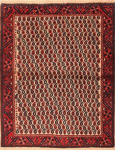 "Afshar Red Hand Knotted 3'11"" X 5'2""  Area Rug 100-22432"