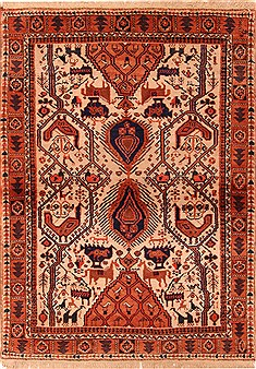 Persian Shahre babak Red Rectangle 3x5 ft Wool Carpet 22439