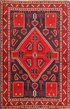 Persian Sirjan Red Rectangle 3x5 ft Wool Carpet 22448