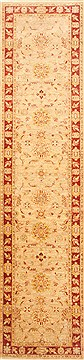 Pakistani Chobi Beige Runner 10 to 12 ft Wool Carpet 22474