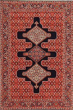 "Sanandaj Red Hand Knotted 5'5"" X 7'4""  Area Rug 100-22501"
