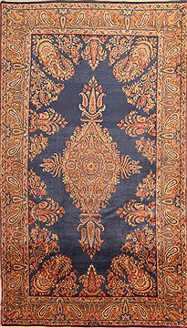 "Yazd Yellow Hand Knotted 4'11"" X 8'8""  Area Rug 100-22503"