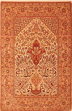 "Isfahan Beige Hand Knotted 5'2"" X 7'8""  Area Rug 100-22505"