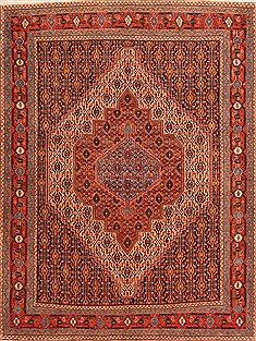 "Sanandaj Red Hand Knotted 5'1"" X 6'9""  Area Rug 100-22522"