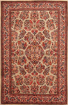 Persian sarouk Red Rectangle 5x7 ft Wool Carpet 22553