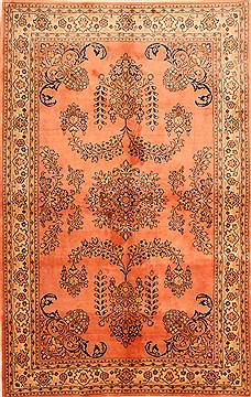 "Sarouk Red Hand Knotted 5'2"" X 8'4""  Area Rug 100-22565"