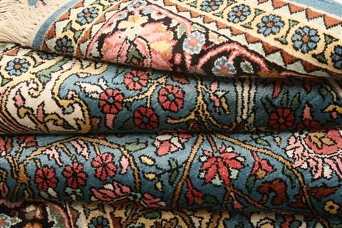 Indian Kashmir Blue Rectangle 4x6 Ft Silk Carpet 22567