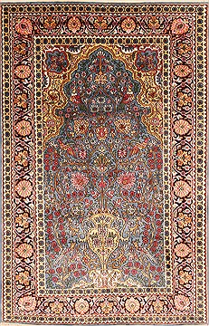 "Kashmir Blue Hand Knotted 4'0"" X 6'2""  Area Rug 100-22567"