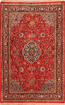 "Sarouk Red Hand Knotted 4'5"" X 6'9""  Area Rug 100-22569"
