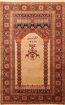 Romania Tabriz Brown Rectangle 4x6 ft Wool Carpet 22603
