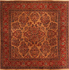"Sarouk Red Square Hand Knotted 6'4"" X 6'4""  Area Rug 100-22608"