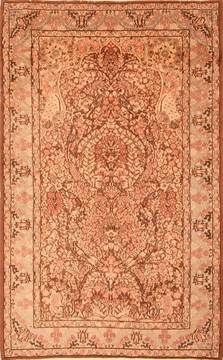 "Kerman Brown Hand Knotted 4'11"" X 7'10""  Area Rug 100-22617"